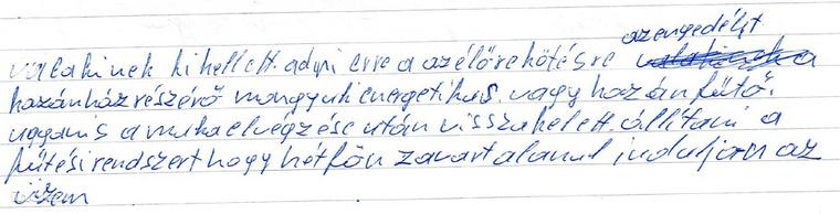 Részlet Zsámár János kézzel írt leveléből.