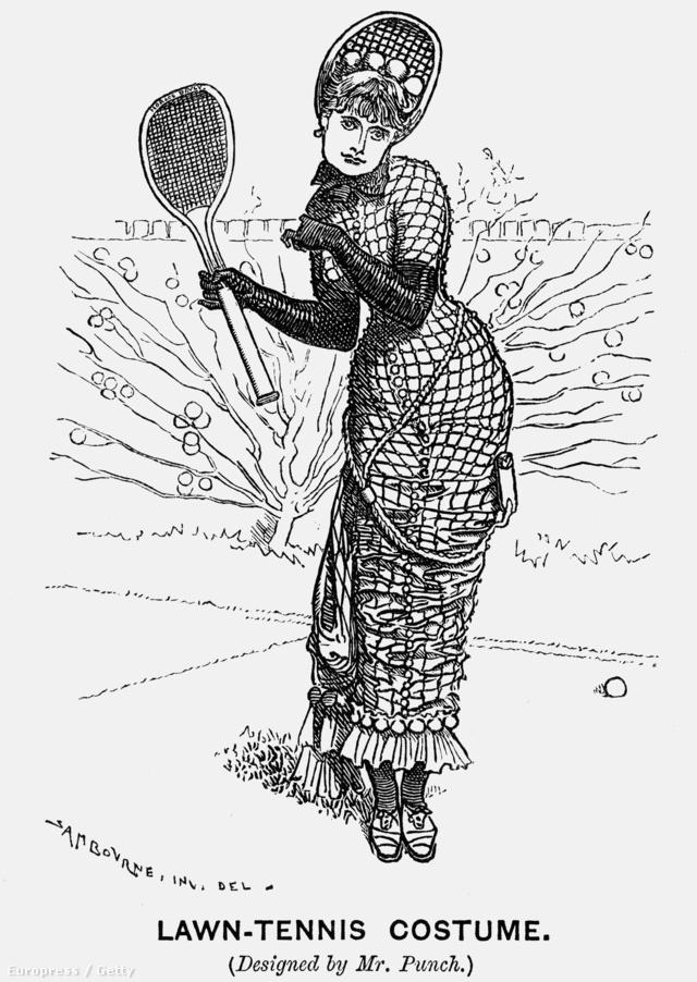 Ilyen macerás volt egy női teniszruha 1879-ben. A kalap formája mintha egy kicsit lekövetné az ütőét.