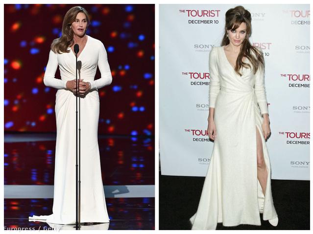 5 év a különbség: Caitlyn Jenner nemrég, Jolie viszont 2010-ben viselte a hófehér Versacét