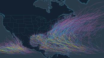 160 év összes hurrikánja egy térképen
