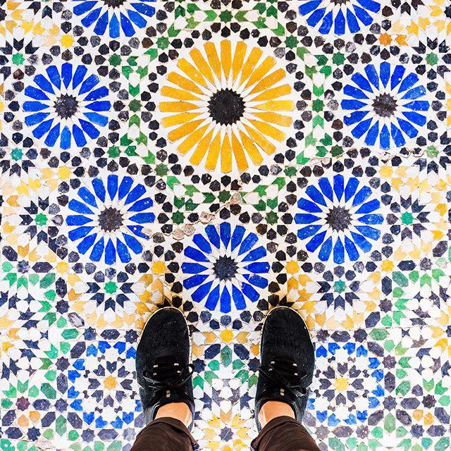 Ez szép színes, a Bahia Palace metlachija Marrákesben.
