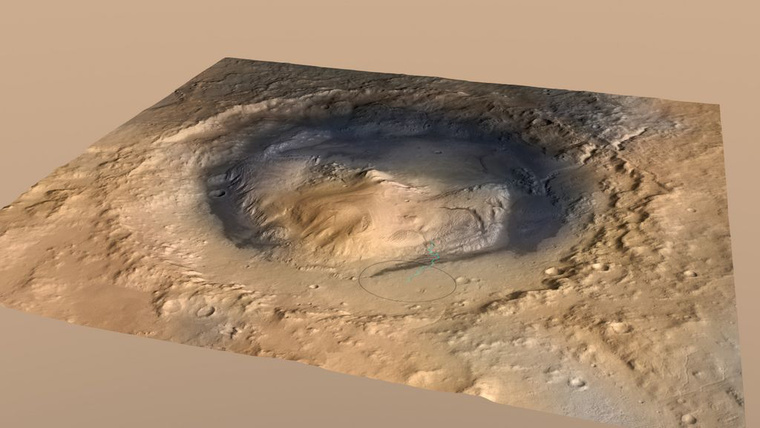 A Gale-kráter a NASA 3D-s domborzati térképén.