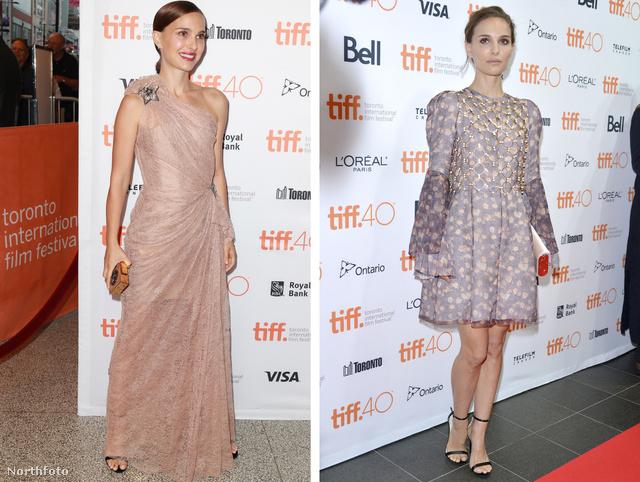 Balra Natalie Portman 2015. szeptember 10-én új filmje, a A Tale of Love  Darkness premierjén a, jobbra ugyanő szeptember 9-én este egy jótékonysági esteni.