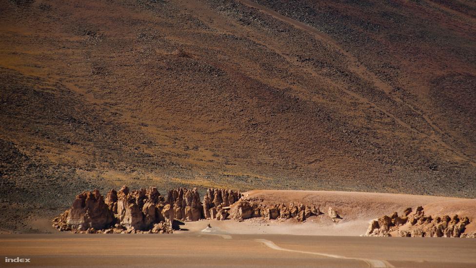 """A Monjes de la Pacana """"szerzeteseinek"""" egy csoportja. A sziklaformákat a turisták moainak is szokták nevezni, a Húsvét-sziget kőfejeinek bennszülött neve után. A hasonlóság nyilvánvaló: a Salar de Tara kőtornyai is szoborként őrzik a tájat, dacolva az elemekkel, rendíthetetlenül, titokzatosan."""