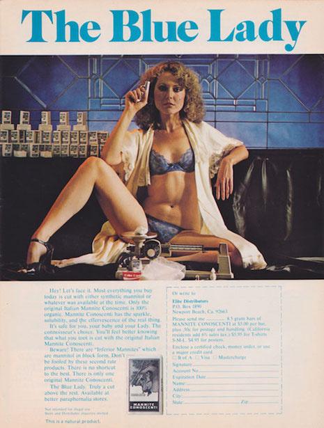 A kék fehérneműben pózoló hölgy többek között mérleget és szemcseppet reklámoz egy pisztollyal a kezében.