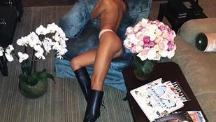 Egy szál bugyiban és magassarkú csizmában pózol Irina Shayk