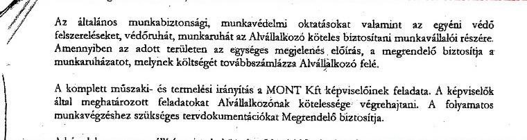 A Mont Kft. és a Zsámár Bt. szerződése