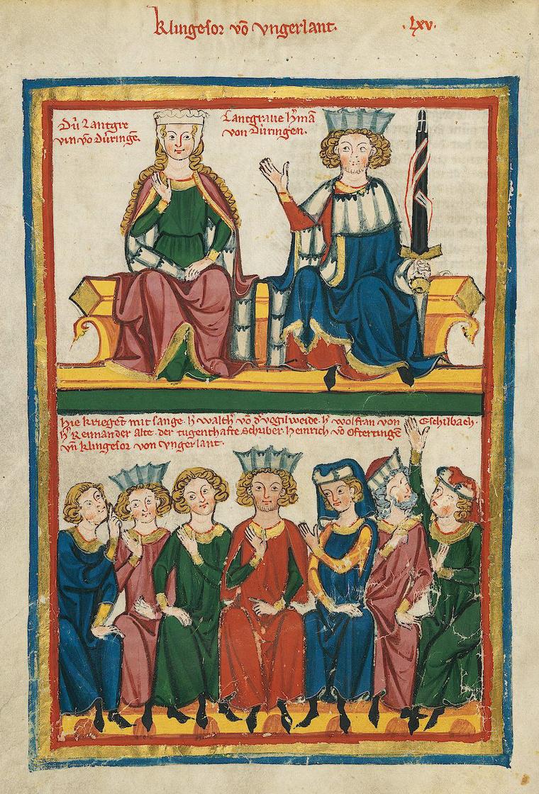 A Codex Manesse illusztrációja a wartburgi énekesháborúról