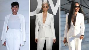 Rákaptak a fehér kosztümre a celebnők