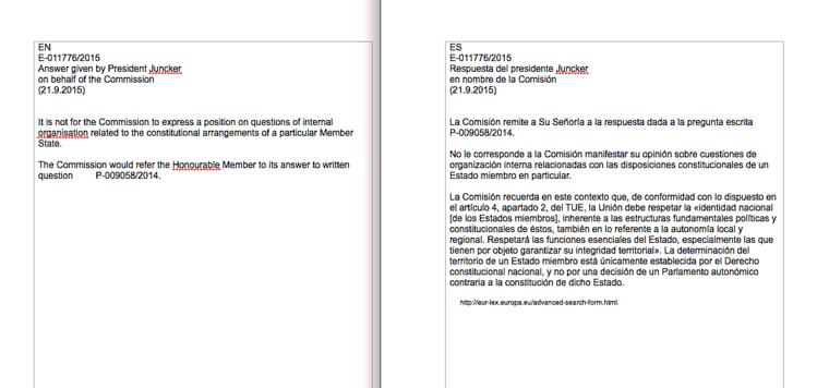 Az angol és a spanyol nyelvű válasz az EP-képviselő kérdésére
