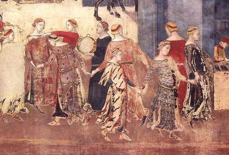 TáncosokAmbogio Lorenzetti jó kormányzást bemutató freskóján a sienaiPalazzo Pubblicóban (1338-40)