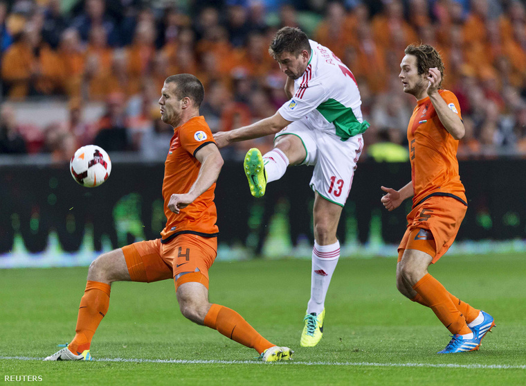 Böde Dániel a Hollandia elleni vb-selejtezőn a válogatott színében.