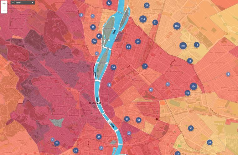 Eladó panellakások és az ingatlanárak alakulása Budapesten. Részletekért kattintson a térképre