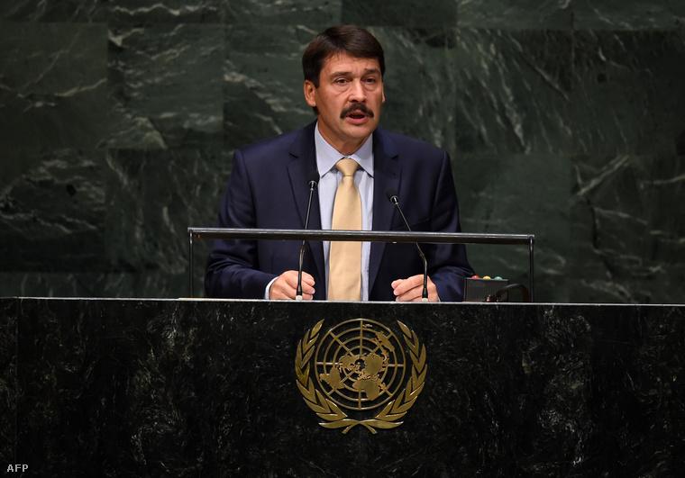 Áder János beszél az ENSZ Közgyűlése előtt 2014. szeptember 25-én.