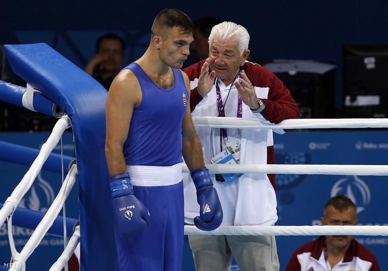 Harcsa Norbert és Szántó Imre mesteredző a bakui I. Európa Játékok férfi ökölvívó versenyének első fordulójában 2015. június 17-én.