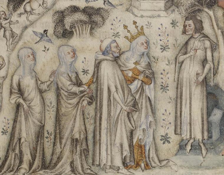 Machaut akkora sztár volt, hogy ezen a (még életében készült) miniatúrán az Anya Természet személyesen hozza el neki bemutatni három gyermekét: az Érzelmet, a Szónoklatot és a Zenét