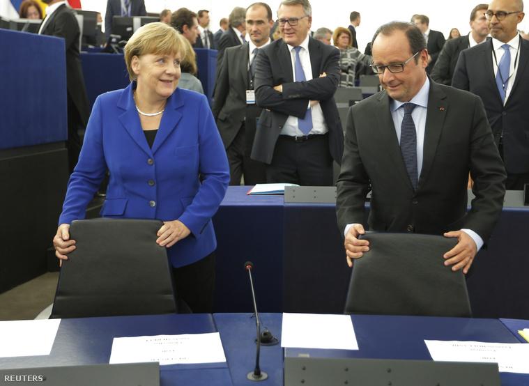 Merkel és Hollande Strasbourgban