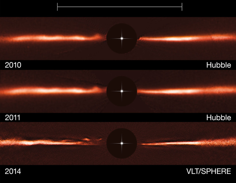Az AU Mic körüli törmelékkorongnak a Hubble-űrtávcsővel és a VLT SPHERE műszerével készült felvételei. A fekete kör a képek közepén a fényes csillag – pozícióját a szimbólum jelzi – kitakarása, hogy a jóval halványabb korong láthatóvá váljon. A skála a Neptunusz pályájának átmérőjét (60 csillagászati egység) mutatja. A korong külső részeit mesterségesen fényesítették, hogy a halvány struktúrái is felismerhetők legyenek.
