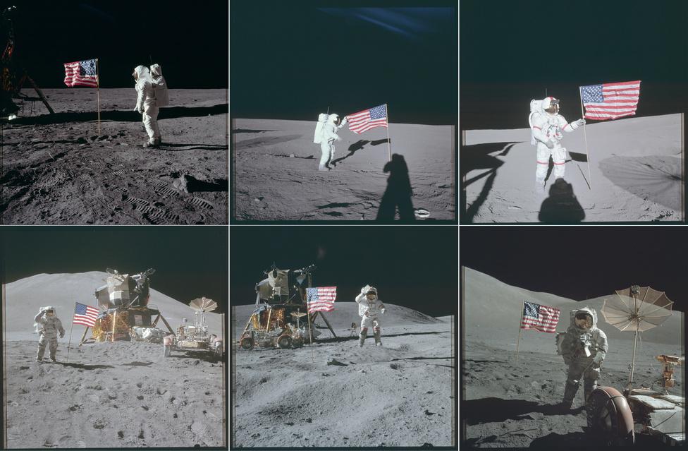 Egy képen az összes zászló, ami eljutott a Holdra. A 13-as, szerencsétlen küldetést leszámítva minden Apollo-misszó legénysége felállította a leszállóegység külsejére erősített, hőálló hengerben magukkal vitt zászlót. Az első alkalommal kiderült, hogy érdemes a leszállás helyétől kicsit távolabb zászlót bontani, Armstrong beszámolója szerint az Apollo-11 lobogóját elsodorta a visszatéréskor beindított hajtóművek szele.
