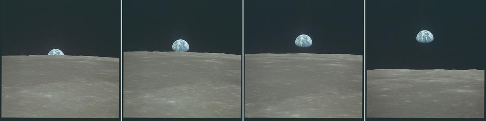 Földfelkelte a Holdról nézve. Az Apollo-program résztvevői közül többen is számoltak be honvágyról, facsarta a szívüket az egyre zsugorodó Föld látványa. A Föld bámulása azóta is központi része az űrhajósoknak, a Nemzetközi Űrállomáson dolgozó legénység ha épp nem valami kísérletet végez vagy alszik, az biztos, hogy a Földet fotózza.