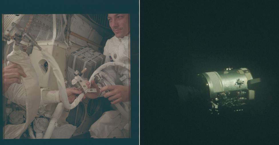 A holdraszállás után talán az Apollo-13 sikeres kudarcának történetét ismerik a legtöbben. Az űrhajó műszaki egységének meghibásodása miatt bekövetkezett robbanás miatt az űrhajósok olyan fontos dolgokat veszítettek el, mint az oxigéntartalék és a meghajtás egy része, így csak úgy tudtak hazavergődni, hogy a holdkompot használták mentőcsónakként. A képen az űrhajósok által a földi irányítástól kapott utasítások alapján összelegózott, rögtönzött légszűrő berendezés látható, illetve a fénykép a hibás műszaki egységről. Ez utóbbit látva csodálkoztak el csak igazán a legénység tagjai, hogy életben maradtak, a robbanás feltépte az űrhajó oldalát, mindenfelé vezetékek lógtak. Egy vizsgálat később megállapította, hogy a robbanás a lehető legjobb pillanatban történt. Ha ennél hamarabb jön, a rendszerek nem bírták volna a visszatérés végéig, ha később, akkor a holdkomp hajtóműve kevés lett volna a szükséges pályamódosításokhoz.