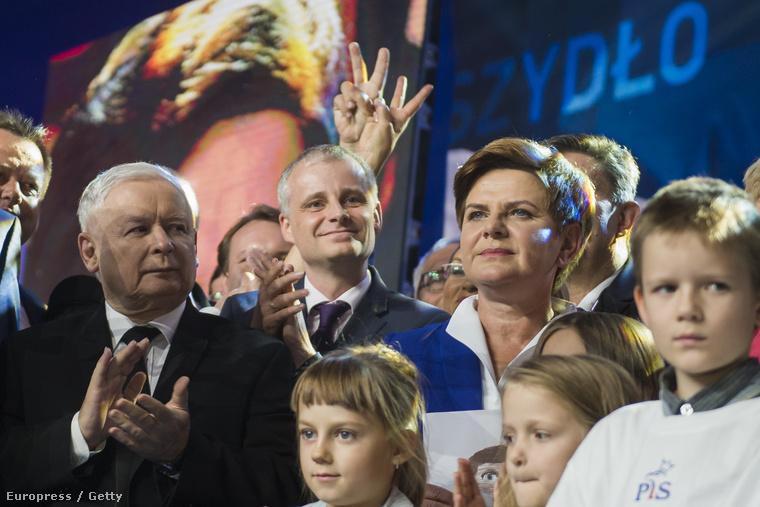 Jarosław Kaczynski ésBeata Szydło aJog és Igazságosság párt rendezévényén, 2015. szeptember 12-én, Varsóban.