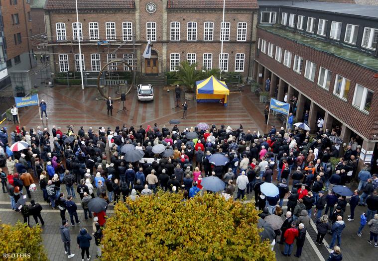 Menekültellenes tüntetés Trelleborgban