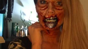 Baukó VV Éva zombis dekoltázsban adta elő a halloweent