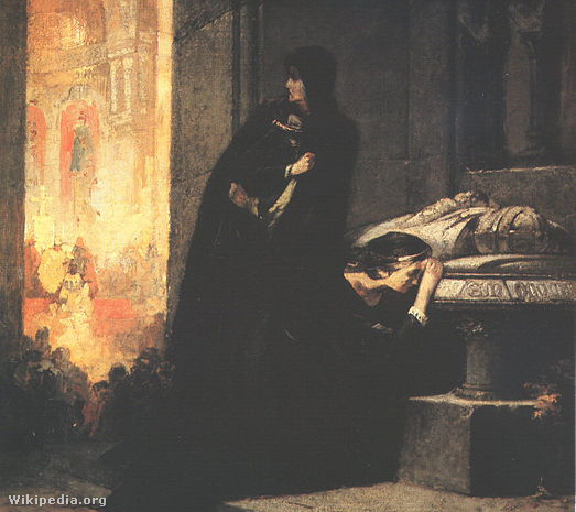 I. Lajos felesége és lánya, Erzsébet és Mária királynők I. Lajos sírjánál.