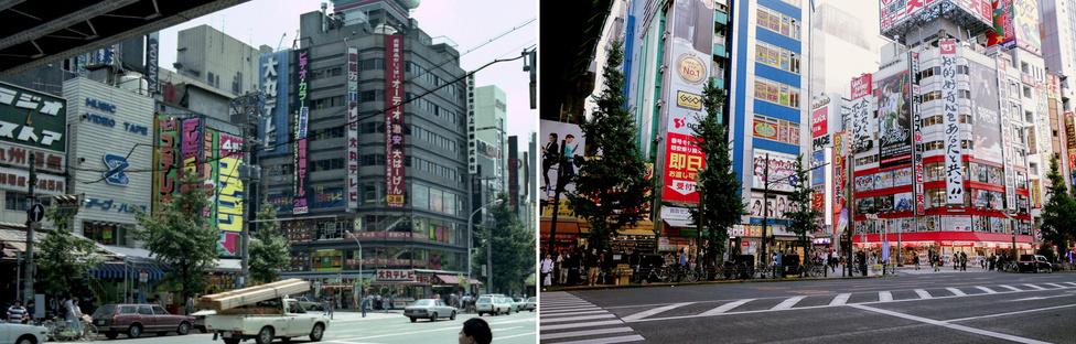 Akihabara Electric Town – hívják így ma is. De sok Electric nincs benne, aki olyat akar, menjen inkább Nishi-Shinjukuba. Harminc éve ez egy négy-nyolcemeletes elektronikai áruházakkal tömött al-kerület volt, napokat el lehetett mászkálni itt, térdig gázolva számológépben, hifiben, mikrosütőben, videomagnóban és mikrokazettás magnóban. Már leginkább csak a telefonos boltok maradtak meg mindebből, mert egy szörnyű ingatlanmanipuláció miatt Akihabarát először elhagyták az elektronikai árusok (olyan 6-8 évvel ezelőtt), aztán amikor kiderült, hogy földbe álltak a nagyszabású átalakítási tervek, cosplay-áruházak foglalták el a helyüket. Mellékelve egy 1981-es kép az elektronikai, dicső korszakból, illetve egy mai, a csupa cicamica-ugyibugyi cosplayes stílusúból.