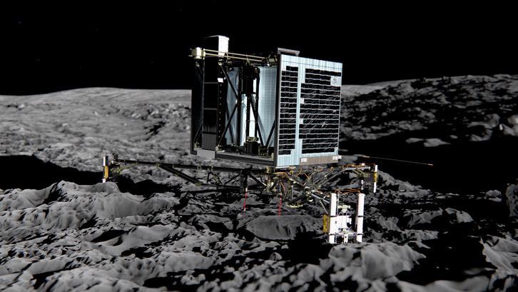 A Rosetta küldetés: A Philae szonda grafikus ábrázolása a 67P üstökös hátán