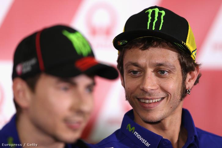 Jorge Lorenzo és Valentino Rossi az Ausztrál Nagydíj sajtótájékoztatóján.