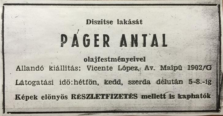 Páger Antal festményeinek reklámja, argentínai újsághirdetés 1954 körül.