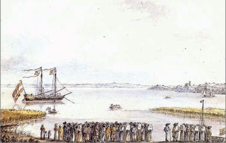 A Festetics-flotilla Balatonfürednél (1821 nyarán, József nádor és csdaládja gyógyüdülésekor készülhetett)