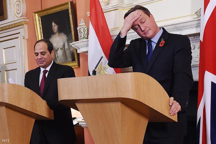 David Cameron brit miniszterelnök (j) és Abdel-Fattáh esz-Szíszi egyiptomi elnök sajtótájékoztatót tart a londoni kormányfői rezidencián a Downing Steet 10-ben 2015. november 5-én.