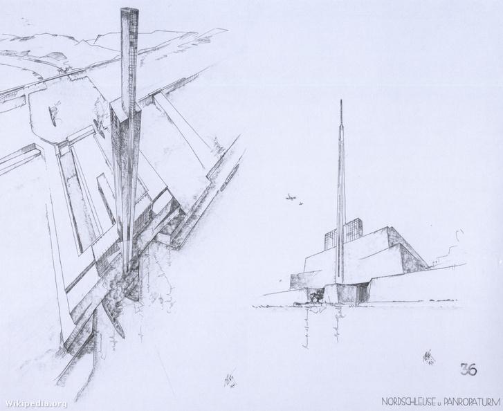 Sörgel elképzelése a Gibraltári-szorosnál épített, hatalmas gátról és vízerőműről.