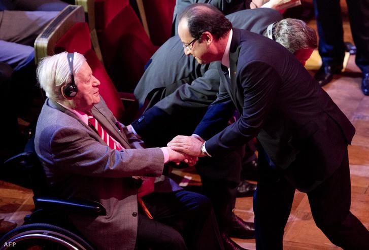 Helmudt Schmidt Francois Hollande francia elnökkel.