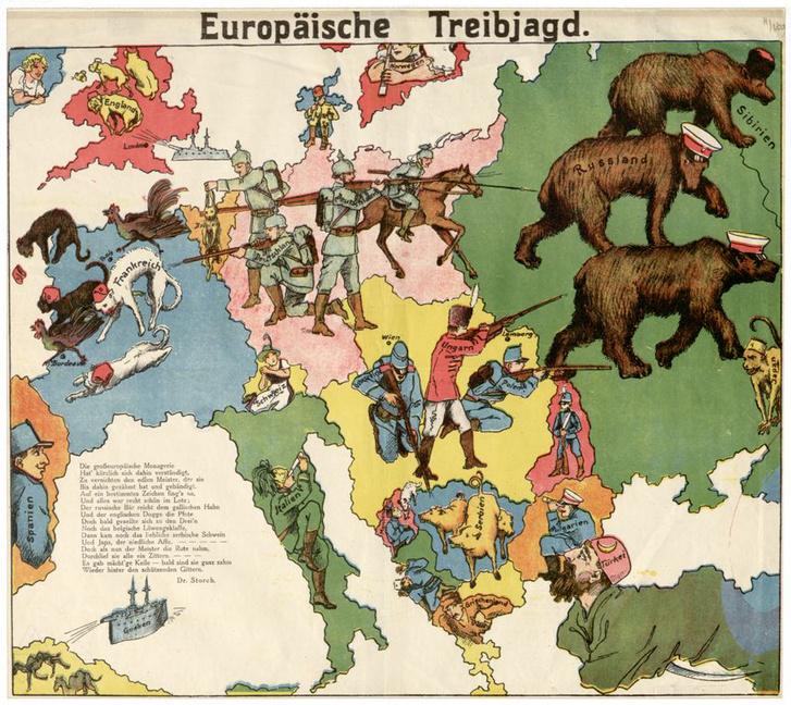 Europäische Treibjagd - Európai hajtóvadászat (1914)                         (OSZK Térképtár, T 3 157)