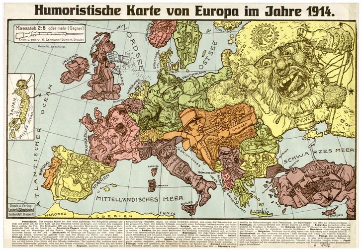 Humoristische Karte von Europa im Jahre 1914. (OSZK Térképtár, T 3 156)