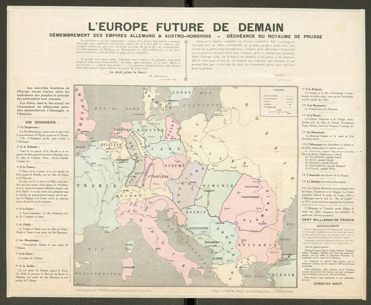 L'Europe future de demain démembrement des empires Allemand & Austro-Hongrois - déchéanche du Royaume Prussie (1915)                         (OSZK Térképtár, T 9 354)