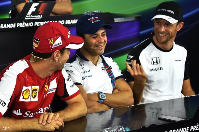 Vettel, Massa és Button a Sao Pauló-i sajtótájékoztatón