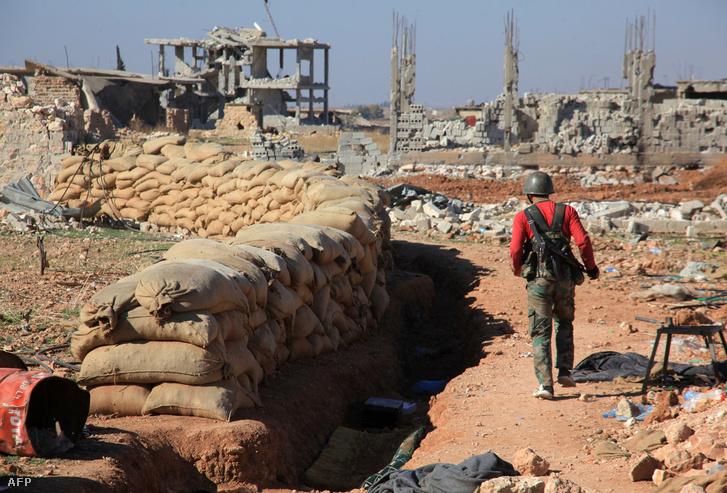 Lebombázott előváros Aleppo közelében, november 14.