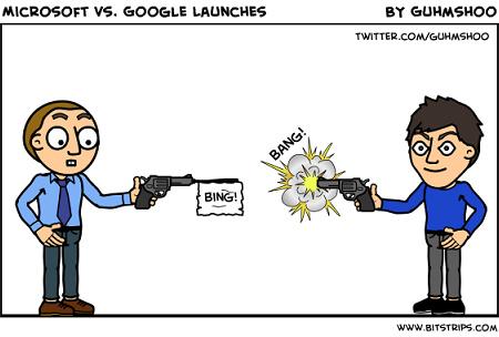A Bitstrips karikatúrája a Bing-Google háborúról