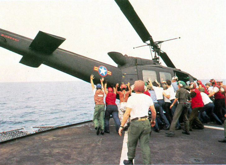 Vietnamese UH-1 pushed over board Operation Frequent Wind