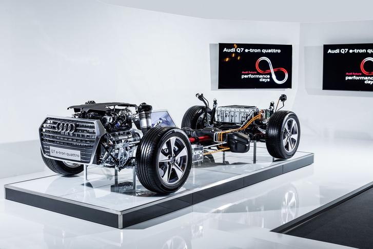 Audi Q7 e-tron hajtáslánc, hátul az akkumulátorokkal