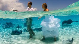 Rájafotózásba sétált bele a menyasszony