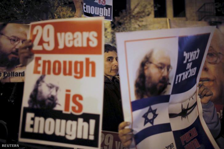 Izraeli tüntetők követelik az Izrael javára végzett kémkedés miatt az Egyesült Államokban 1987-ben börtönbüntetésre ítélt Jonathan Pollard szabadon bocsátását Jeruzsálemben 2014. január 2-án.