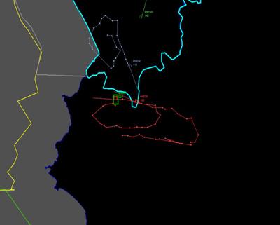 Ez a térkép az orosz Szu-24-es és a térségben repülő török F16-osok útvonalait mutatja a szíriai-török határnál.