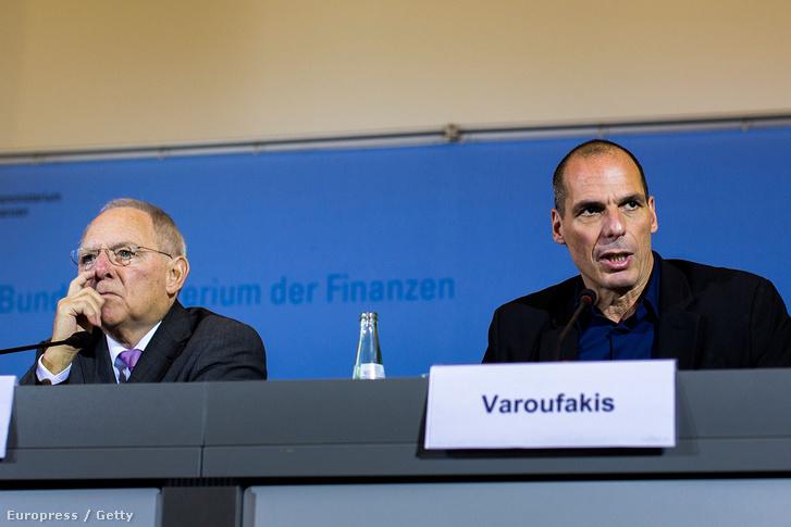 Wolfgang Schaüble német, és Janis Varufakisz akkori görög pénzügyminiszter.