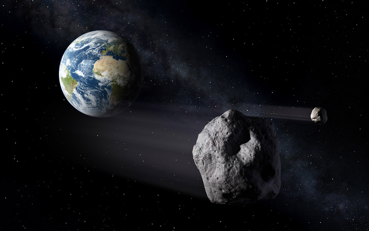 asteroid and earth walpaper